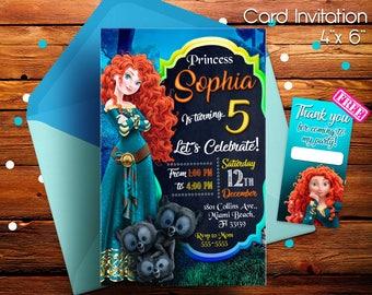 Brave Invitation, Brave Birthday Invitation, Princess Merida, Merida Invitation, Merida Invite, Brave Birthday Party, Free thank you cards