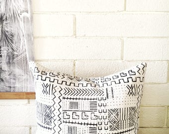African Mudcloth Pillow Cover 18x18""