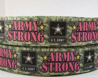 "Armed Forces Grosgrain 7/8"" Printed Ribbon, Military Ribbon, Army Ribbon"