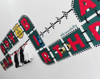 Racing Cars Birthday Banner - Cars Birthday Banner - Race Banner - Race Cars Birthday Party
