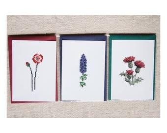 Postcards set - Reproduction cards - series Herbarium hand - embroidered cross - stitch June B. Kitsch - JB. K