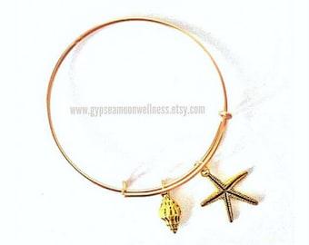 Starfish, Seashell Adjustable Charm Bangle Bracelet Lead Free Handcrafted Jewelry Boho Style Chic Fashion Ocean Theme Charms Handmade