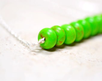 Lime Green Beaded Necklace, Bright Green Gemstone Jewelry, Bright Stone Cluster Bar Necklace, Sterling Silver