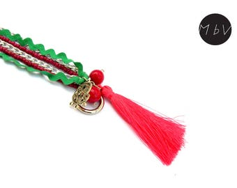 Fashion Jewelry Modern Pink Tassel Long Necklace with Metal Chain, Cotton,  Metal Pendant  and Beads