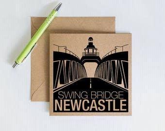 Handmade Retro Greeting Card, Newcastle Swing bridge, Geordie Novelty card, Kraft Recycled Card, Card for family and friends