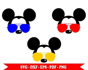 Mickey Mouse aviator with sunglasses, face, head, clip art in SVG format, EPS, DXF, PNG, PDF. For Cricut, cameo Silhouette, vinyl