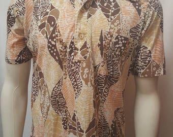 Vintage 70s MR. CALIFORNIA Shirt Psychedelic Leaf Swirls 50/50 Paper Thin Shirt M
