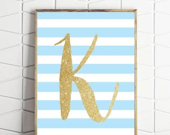 70% OFF SALE printable letter K poster, nursery letter size print, monogram print, personalised wall decor, K custom letter decor