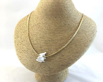 Gold bone necklace, gold chain with white animal bone charm, real animal bone and gold necklace