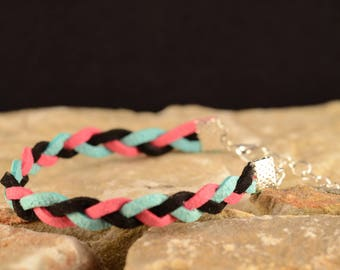 Green Suede, fuchsia and black braided bracelet