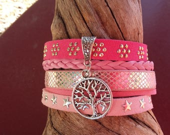 Pink suede Cuff Bracelet and fuchsia