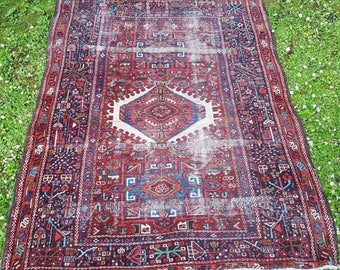 Lovely Antique Traditional Vintage Persian Wool 173x136cm Oriental Rug Handmade Carpet Rugs