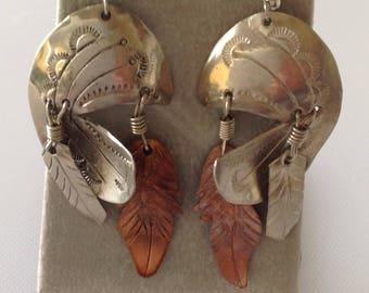 Sterling & Copper Dangle Earrings, Estate Jewelry