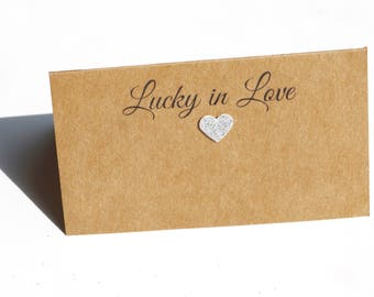 25 BLANK place cards, Lucky in Love Place Cards, Rustic place cards, rustic wedding place cards, Wedding place cards, kraft place cards