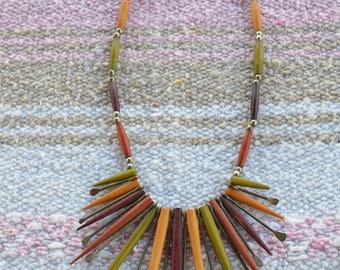 Vintage Wooden Necklace/Vintage Tribal Necklace/Colorful Wooden Necklace/Statement Necklace