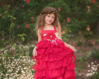 Red Rustic Flower Girl Ruffle Dress, Shabby Chic Junior Bridesmaid Dress, Floral Tea Party Dress, Girls Pageant Dress, Photography Dress