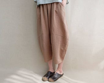 Women Calf-length Pants Cotton Capri Pants Elastic Waist Linen Zen Pants Harem Pants Summer Pants Wide Leg Pants