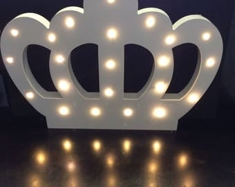 Marquee LED Wooden crown light- Wooden crown with marquee LED light- light up crown- Princess Crown Deco- light up wooden crown.