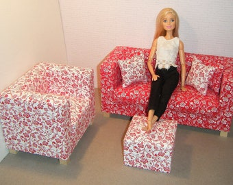 Doll Furniture Sofa Chair Pouf - Barbie Momoko Blythe Pullip Fashion Dolls - 1:6 Playscale Living Room Diorama - Red