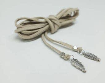 Silver feather pendant wrap choker - Beige