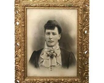 Gilt Framed Antique Charcoal Portrait
