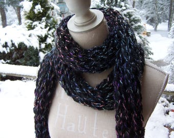 large black wool and multicolored colors hand knitted scarf