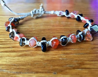 Adjustable Hemp Bracelet with Chipped Smokey Quartz and Chipped Carnelian