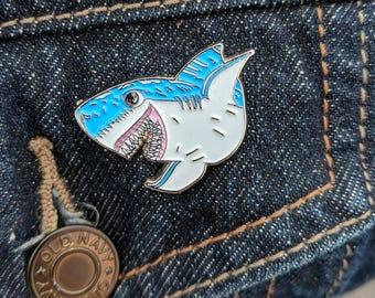Jaws Happy Shark  Shark Enamel Pin   Soft Enamel Pin   Jaws Enamel Pin   Great White Shark   Shark Pin  