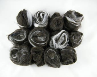 Black & White Art Batt - Handmade in Canada - Superwash Merino and Cashmere - Drum Carder Produced - Great for Spinning