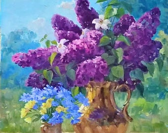 Oil painting Lilac artwork Still life painting Lilac painting Purple wall art Floral painting Flower painting Floral art Home decor Wall Art