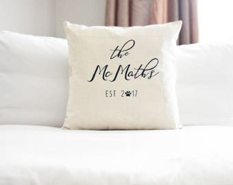 Last name + Est. {year} Throw Pillow Cover | Custom Pillow Cover | Bridal shower gift | Wedding gift | last name pillow | est. pillow | home