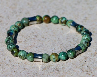 African Turquoise Beaded Bracelet--Growth, Development, and Positive Change