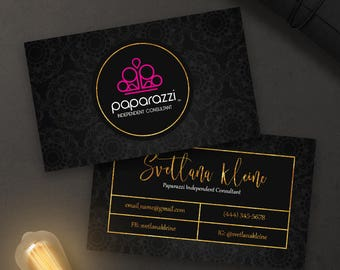 Paparazzi Business Cards, Free Personalized, Paparazzi Jewelry Consultant Card, Black Gold/Pink Floral, For Vistaprint or Home Printing