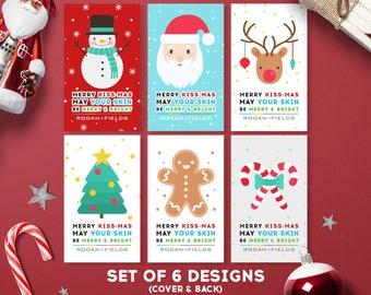 Rodan and Fields Merry Kissmas, Mini Facial Cards, Rodan + Fields Christmas Cards, Merry and Bright, Digital Files, Personalized
