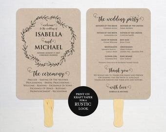 Wedding Program FAN PDF template, instant download editable printable, Ceremony order card, WPC_1170