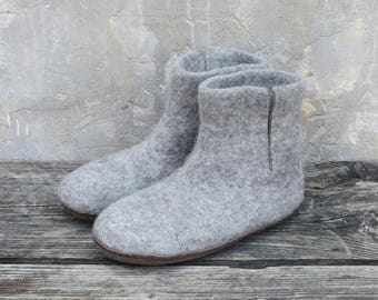 Bidi Handmade Felt Slipper Boots with suede soles