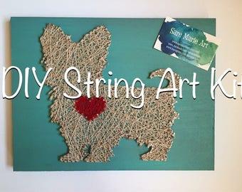 CUSTOM DIY Dog String Art Kit, Pet Silhouette Thread Art How To Steps, Heart Shape Plaque Decor Yarn Art Wood Nails Thread