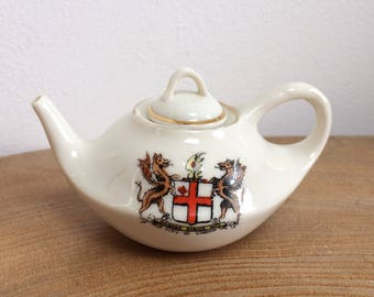 Vintage English  Florentine Ware Crested China Miniature Teapot - Coat of Arms of London