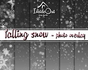 Snow Clipart Snowflake Valentine's Overlay Photo Photoshop Falling Snow New Year Backdrops White PNG Winter Photo Digital Paper Transparent