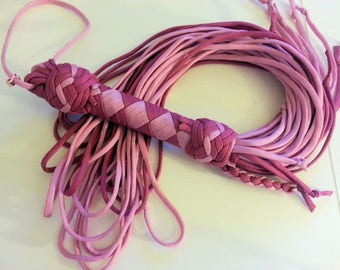 Big Paracord Flogger 2 shades of antic pink Vintage look - BDSM - S & M and kinky fetish play