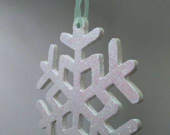 Hanging Snowflake decoration/hanging glitter snowflake/pink and aqua green