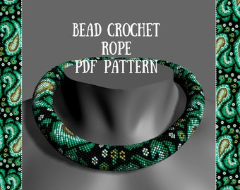 Bead crochet necklace pattern Bead crochet pattern PDF Beaded patterns for seed beads Beading tutorial Beaded rope patterns Beadwork
