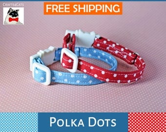 Polka dot cat collar breakaway - kitten collar - Valentine breakaway collar cat - red polka dot cat collar - cat collar - boy - girl