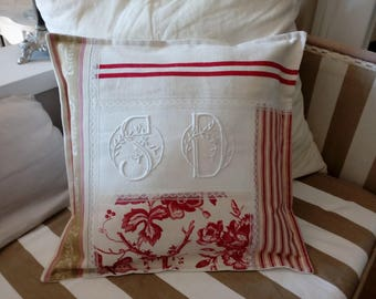 """Patchwork of vintage paintings """"SD"""" Monogram for this pillow"""