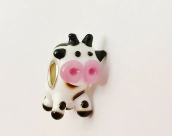 Cute Cow Large Hole Bead European Charm White Cow Bead Animal Charm Lampwork Glass Bead Make Your Own Jewellery Making LynnsGemSupplies