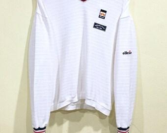 Rare!!! Vintage 90s Ellesse Sweatshirt Big Logo Button Sportwear Pullover Embroidery Jumper Sweater Hip Hop Swag