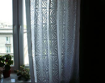 WHITE organdi delicate transparent fabric