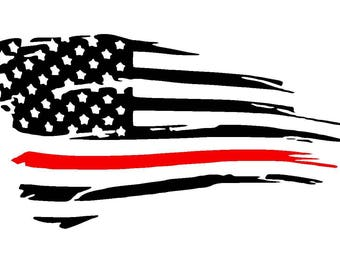 Tattered American Flag Thin Red Line Vinyl Decal | Fire Fighters Support | Firemen | Yeti Cup Decal | Car Window Sticker | Laptop Decal |