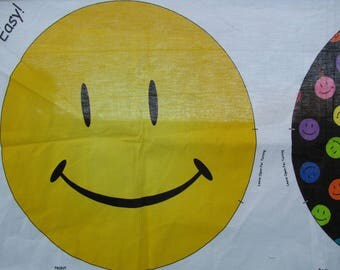 Fabric Panel for Happy Face Smiley Pillow with Rainbow Colored Smiley Faces on the back side