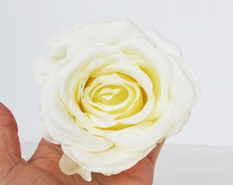 "10 Roses White Silk Artificial Flowers Rose measuring 3.9"" Floral Hair Accessories Flower Supplies Faux Fake DIY Wedding"
